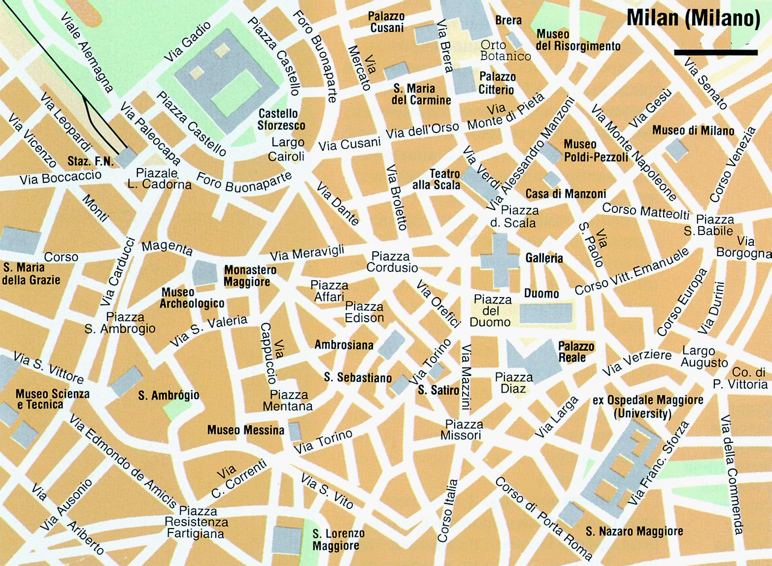Map Of Milan City Maps Of Italy Planetolog Com