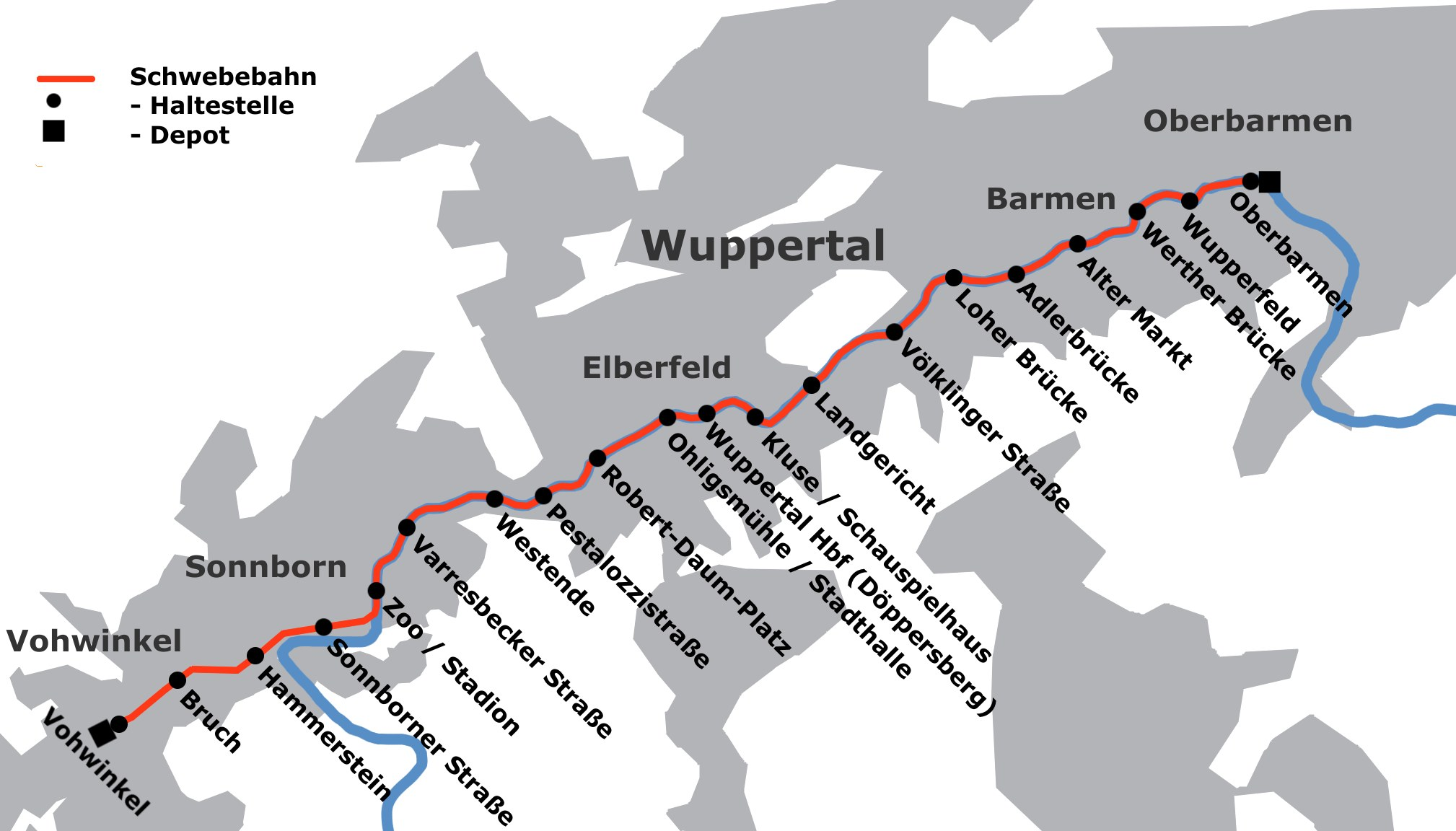 Metro map of Wuppertal
