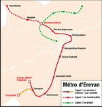 Metro map of Yerevan