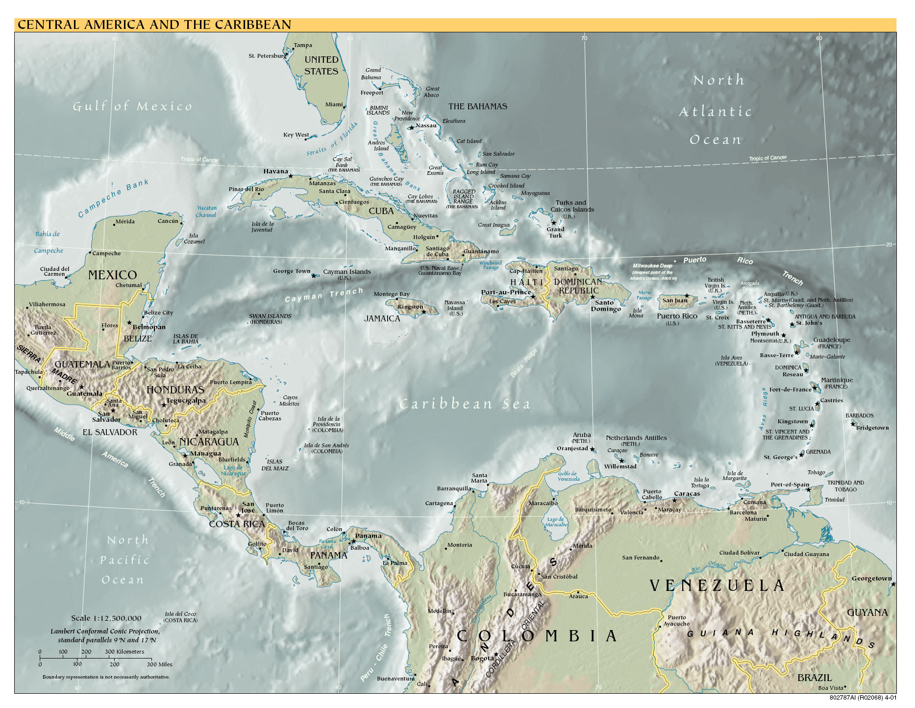 Geographic map of Central America