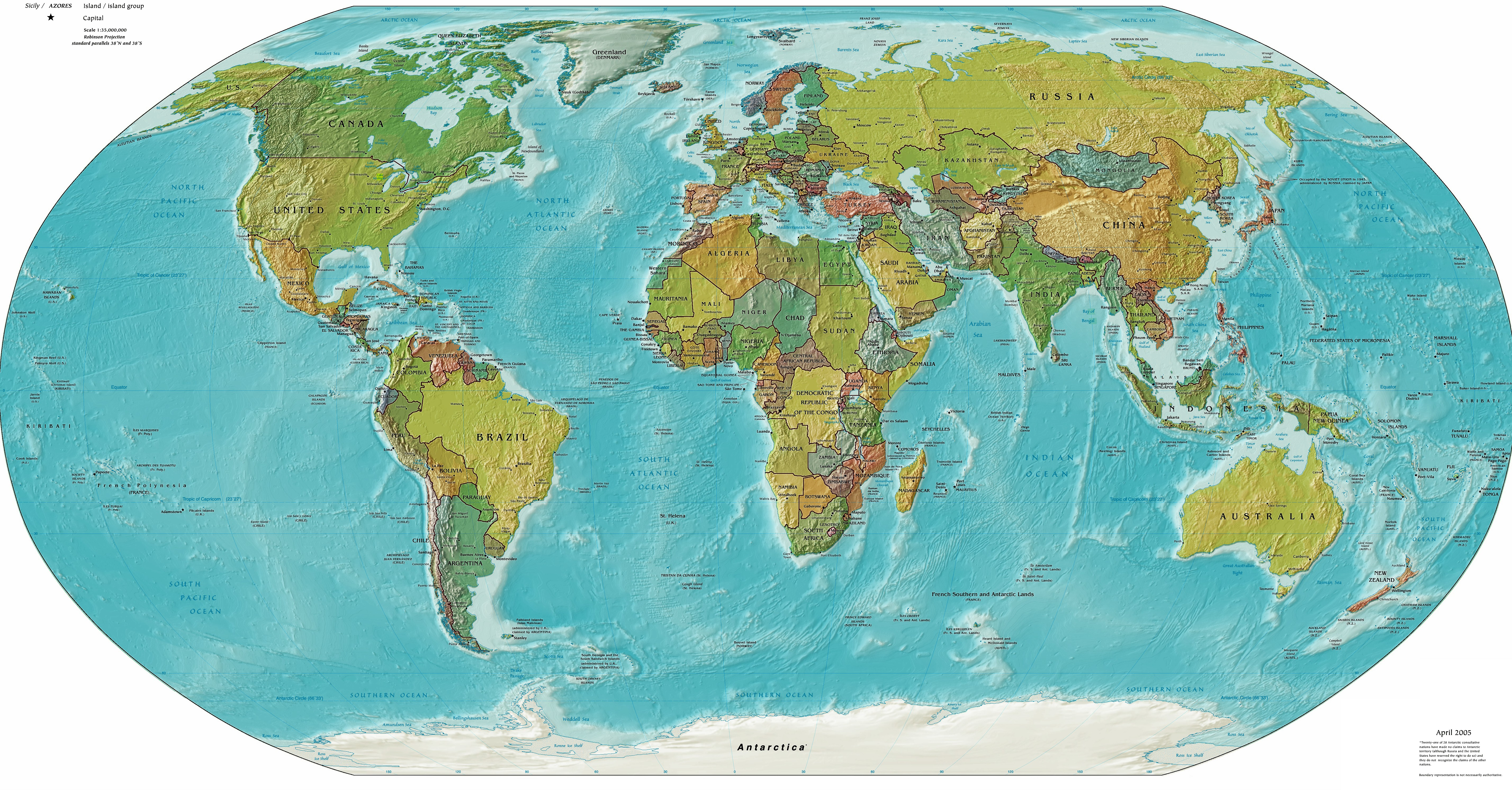 Countries on the phisical map of the world Political maps of the world Pla