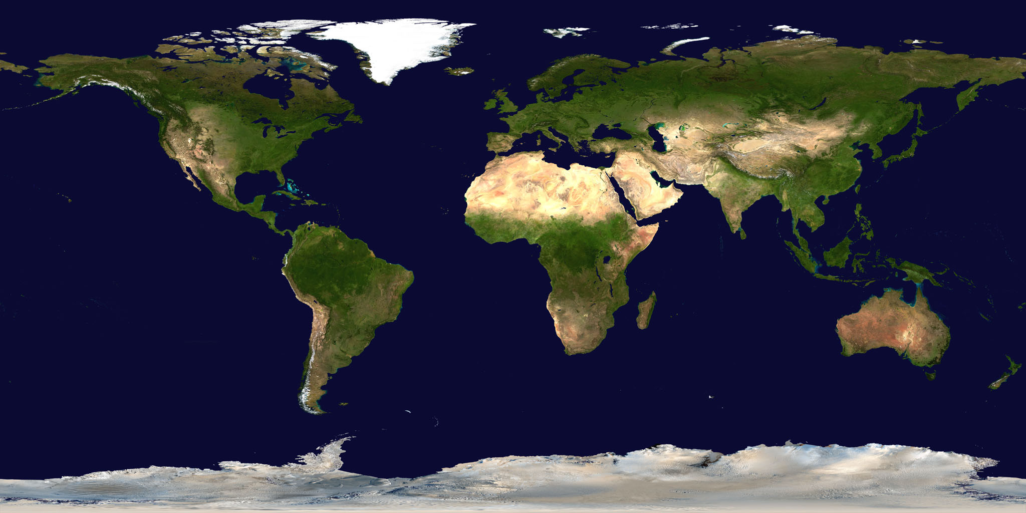 Satellite map of the world (summer)