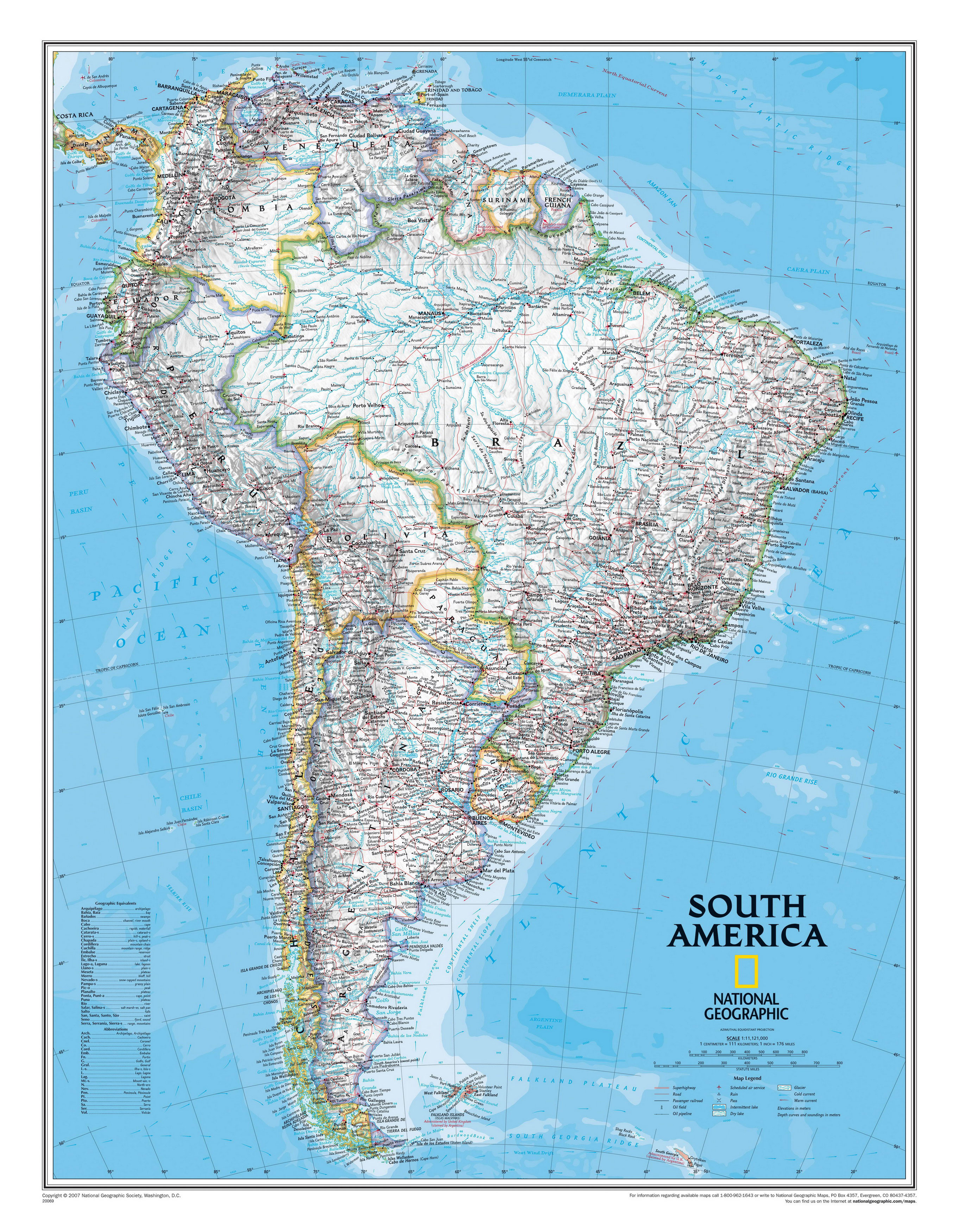 Map of countries of South America South America