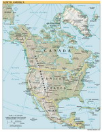 Geographic map of North America