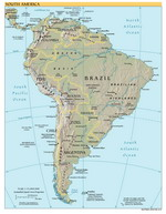 Geographic map of South America