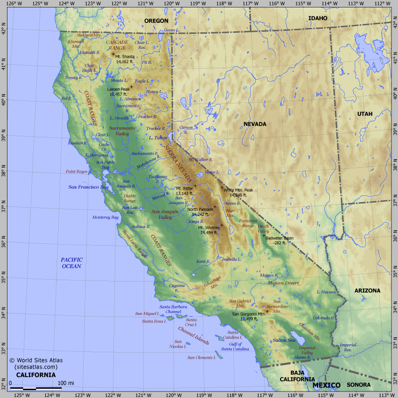 Map of relief of California