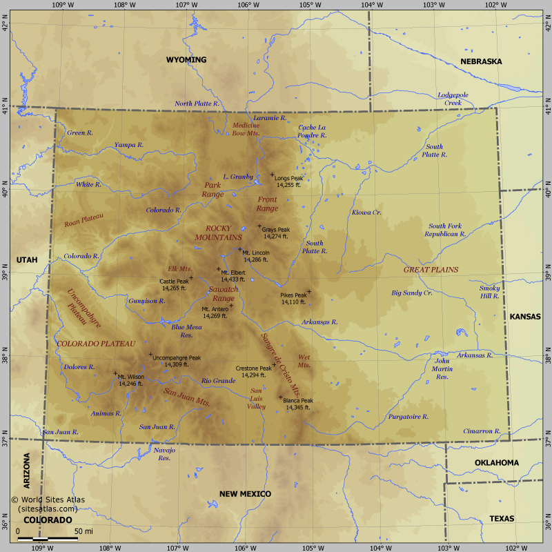 Map of relief of Colorado