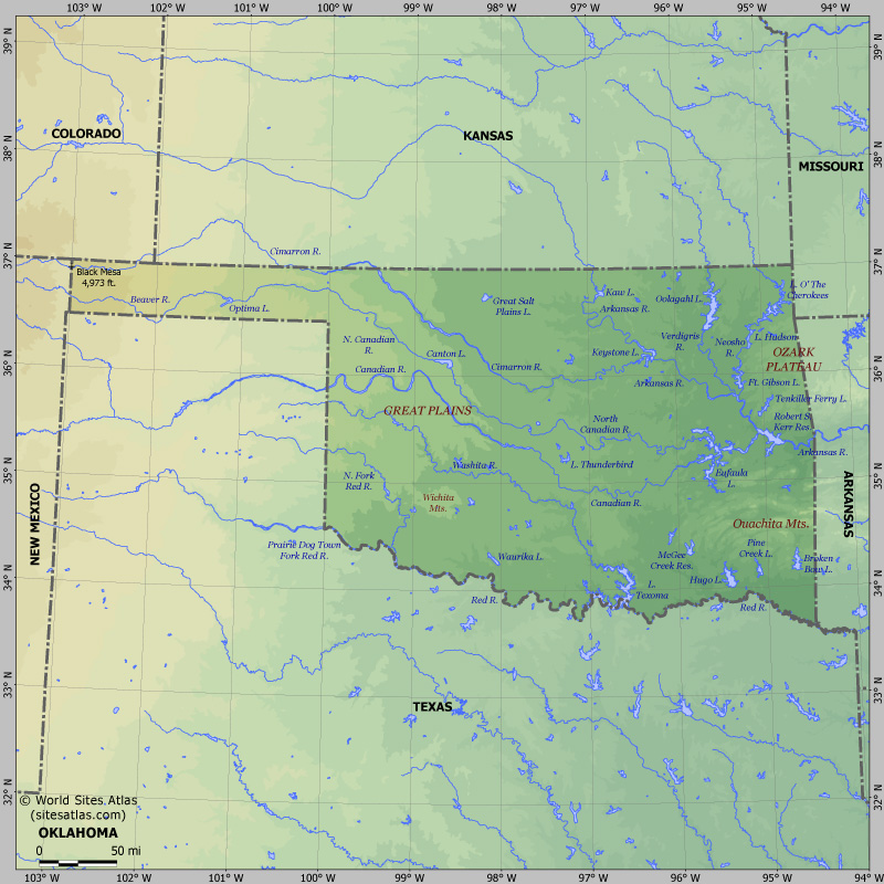 Map of relief of Oklahoma. Maps of USA states — Planetolog.com