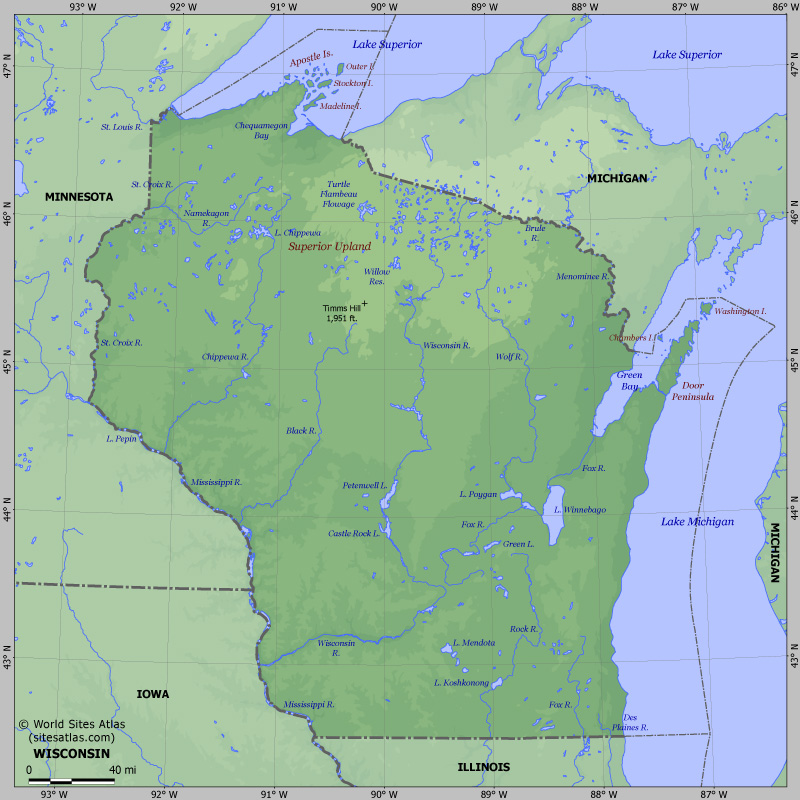 Map of relief of Wisconsin. Maps of USA states — Planetolog.com
