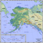 Map of relief of Alaska