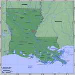 Map of relief of Louisiana