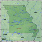 Map of relief of Missouri