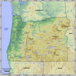 Map of relief of Oregon