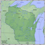 Map of relief of Wisconsin